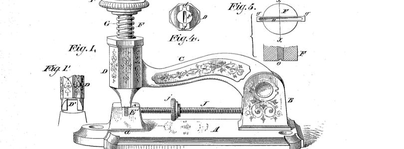 "Drawing of McGill´s ""Device for Inserting Metallic Staples in Paper, & c."", 1879 (US 212316A)"