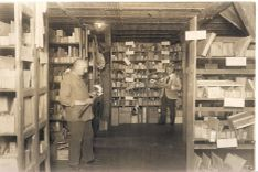 Historic picture of storage room for utility model samples