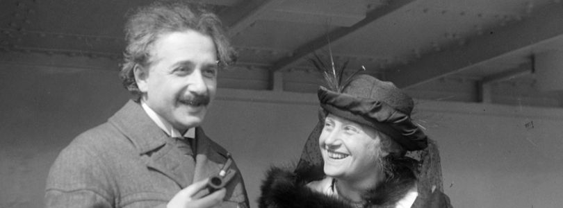 Albert Einstein and his second wife Elsa, 1921