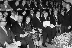Lise Meitner, Otto Hahn and Lord Mayor  Willy Brandt at the opening ceremony of the Hahn-Meitner-Ins