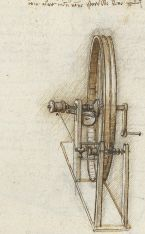 Drawing of a twisting machine from Codex Madrid